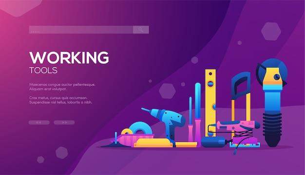 Conjunto de diferentes elementos de la empresa constructora. banner de web de herramientas de trabajo, encabezado de interfaz de usuario, ingresar al sitio.