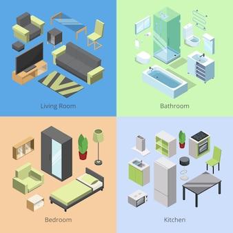 Conjunto de diferentes elementos de mobiliario para habitaciones en casa moderna.