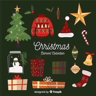 Conjunto de diferentes elementos de navidad