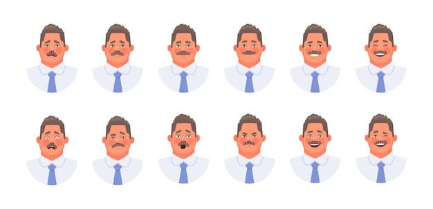 Conjunto de diferentes emociones de un empresario de carácter o empleado de oficina. expresiones faciales de hombre de bigote emoji.