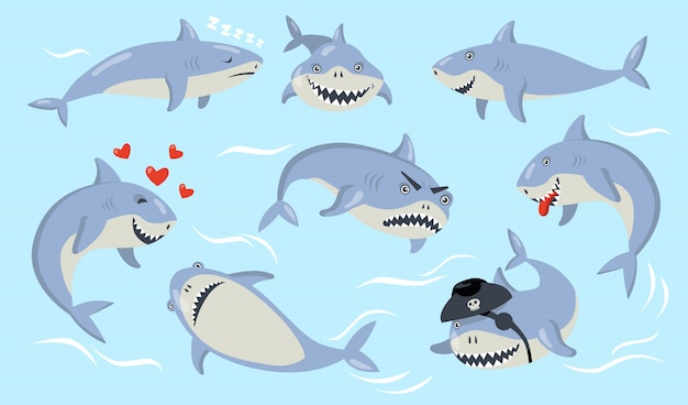 Conjunto de diferentes emociones de tiburón de dibujos animados