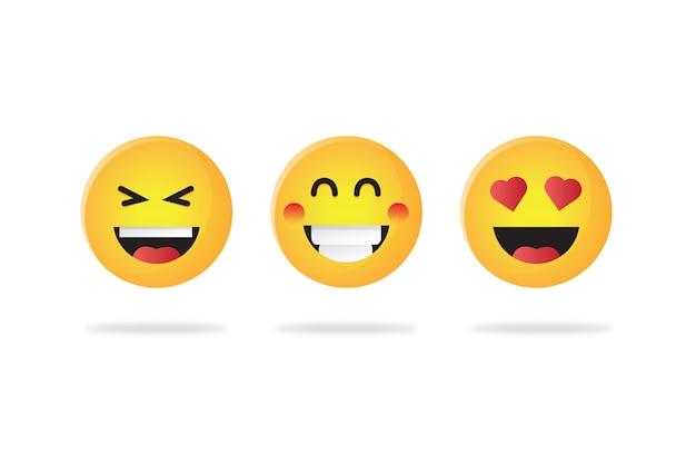 Conjunto de diferentes emoticonos icono ilustración vectorial