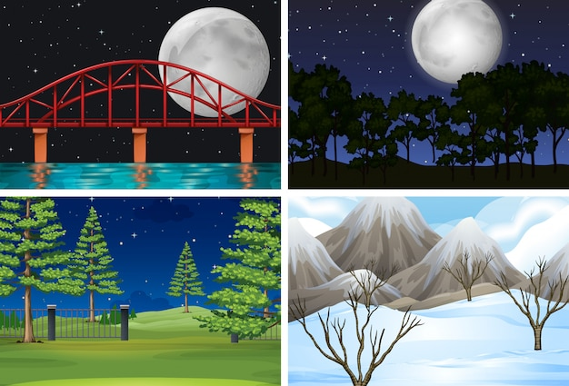 Conjunto de diferentes escenas al aire libre.
