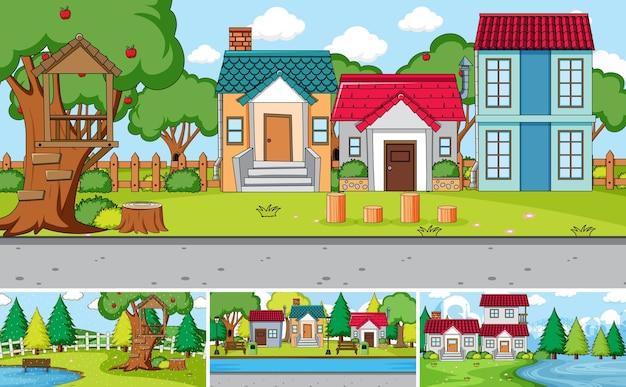 Conjunto de diferentes escenas de casas al aire libre.