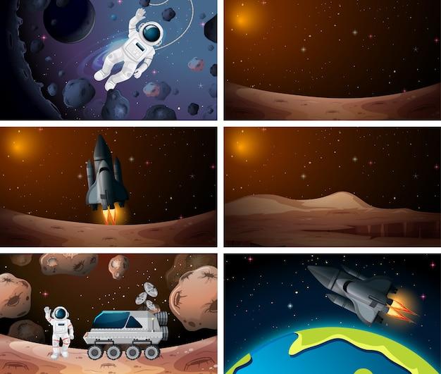 Conjunto de diferentes escenas del espacio exterior de fondo