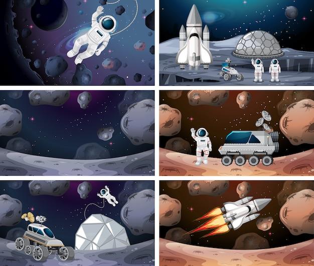Conjunto de diferentes escenas de espacio de fondo.