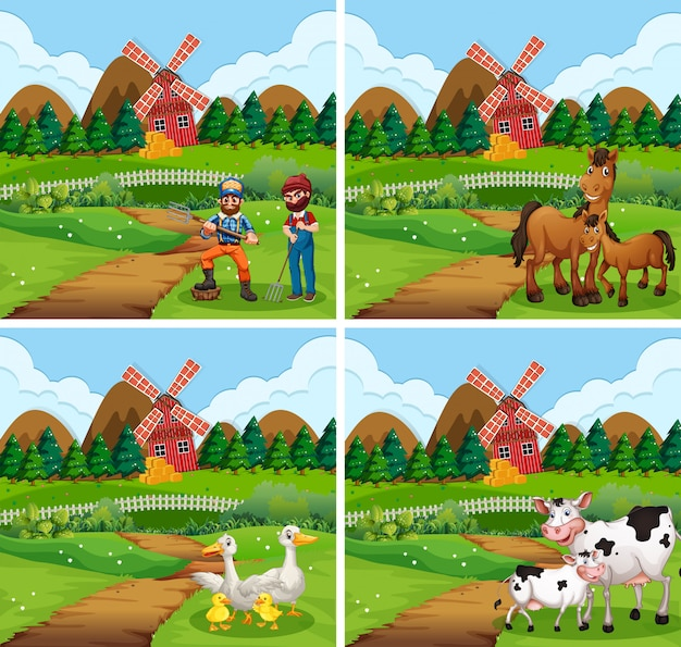 Conjunto de diferentes escenas de granja con animales y personas.