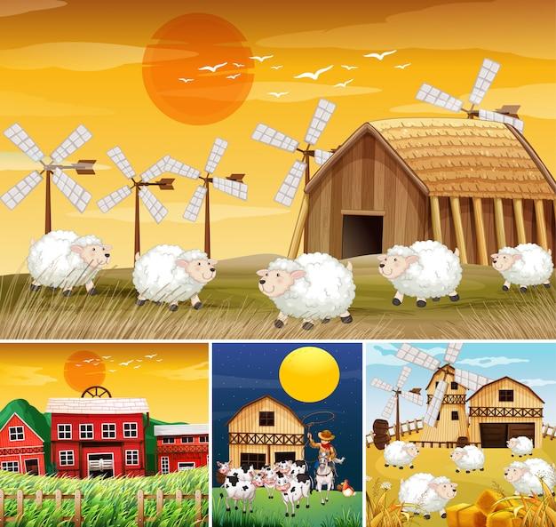 Conjunto de diferentes escenas de granja con estilo de dibujos animados de granja de animales