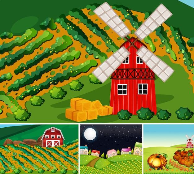 Conjunto de diferentes escenas de granja estilo de dibujos animados