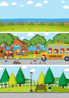 Conjunto de diferentes escenas horizontales con personaje de dibujos animados de niños doodle