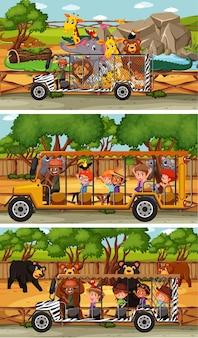 Conjunto de diferentes escenas horizontales de safari con personajes de dibujos animados de animales y niños
