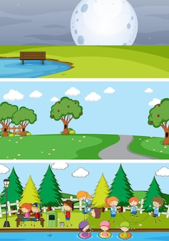 Conjunto de diferentes escenas de horizonte con personaje de dibujos animados de niños doodle