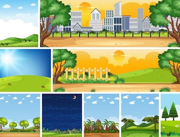 Conjunto de diferentes escenas de la naturaleza en escenas verticales y del horizonte durante el día y la noche