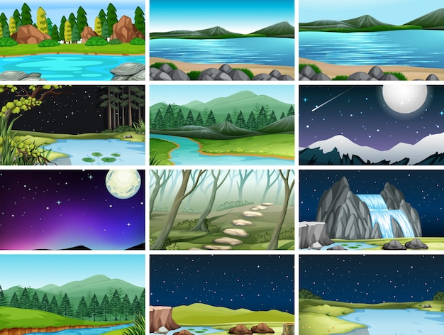 Conjunto de diferentes escenas de la naturaleza de fondo