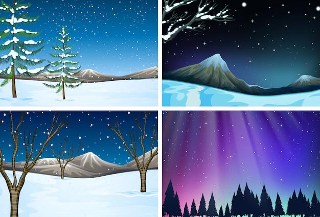 Conjunto de diferentes escenas de nieve.