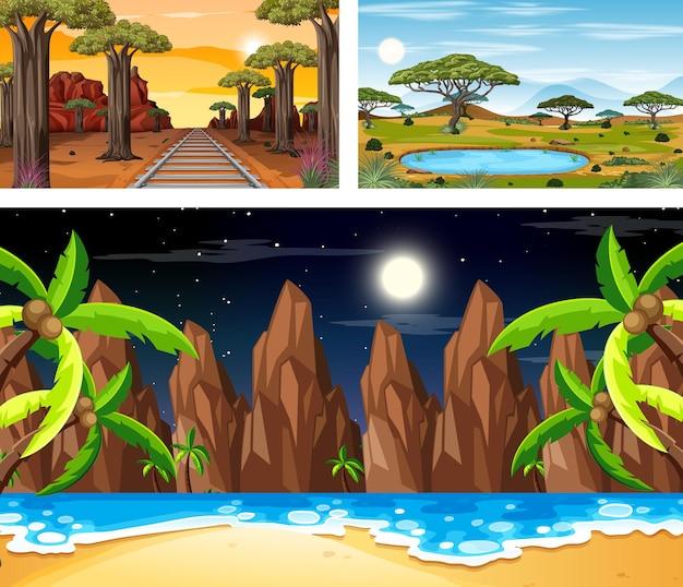 Conjunto de diferentes escenas de paisajes naturales.
