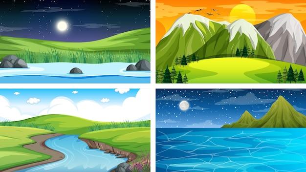 Conjunto de diferentes escenas de parque natural y bosque.