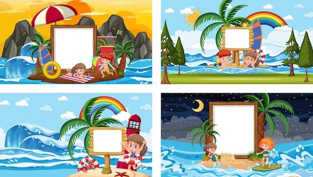 Conjunto de diferentes escenas de playa tropical con banner en blanco.