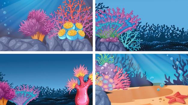 Conjunto de diferentes escenas submarinas de colores.