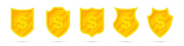 Conjunto de diferentes escudos dorados con icono de dólar. protección del dinero