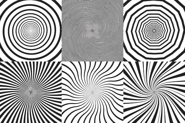 Conjunto de diferentes espirales psicodélicos, vórtice, giro. colección de fondos monocromáticos de vector.