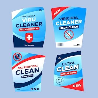 Conjunto de diferentes etiquetas limpiadoras viricidas y bactericidas