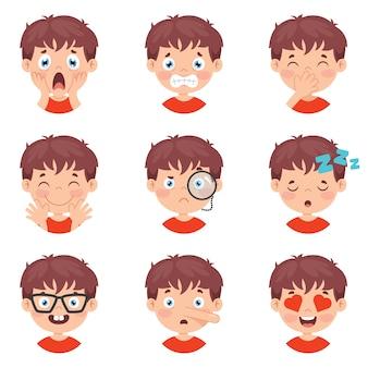 Conjunto de diferentes expresiones de niños