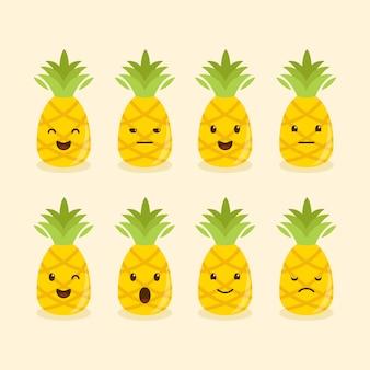 Conjunto de diferentes expresiones o emociones de piña