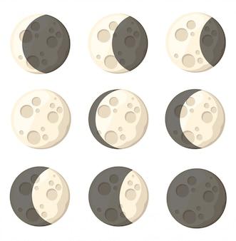 Conjunto de diferentes fases lunares objeto espacial satélite natural de la tierra ilustración en la página del sitio web de fondo blanco y aplicación móvil