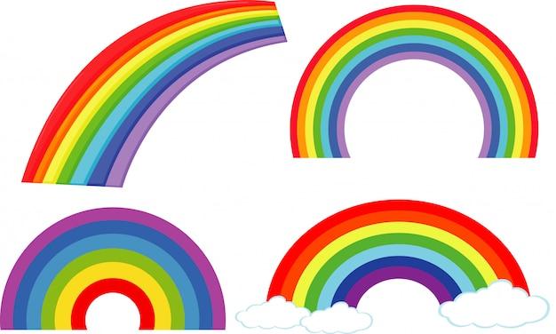 Conjunto de diferentes formas de arco iris en blanco