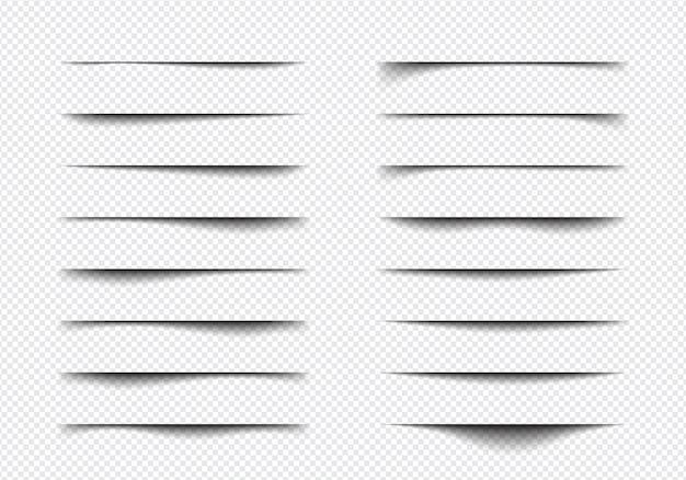 Conjunto de diferentes formas de efecto de sombra realista, separación de páginas