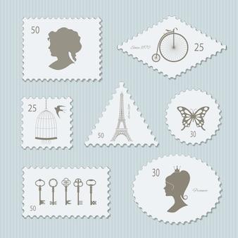 Conjunto de diferentes formas de sellos postales vintage