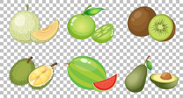 Conjunto de diferentes frutas aisladas