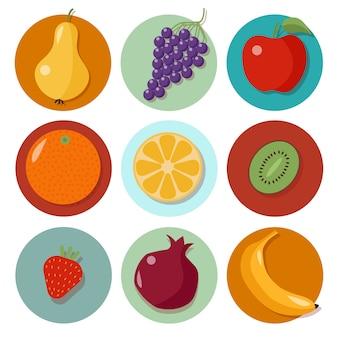 Conjunto de diferentes frutas. iconos de frutas