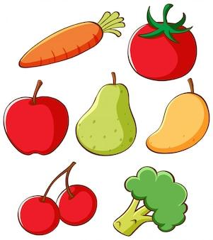 Conjunto de diferentes frutas y verduras.