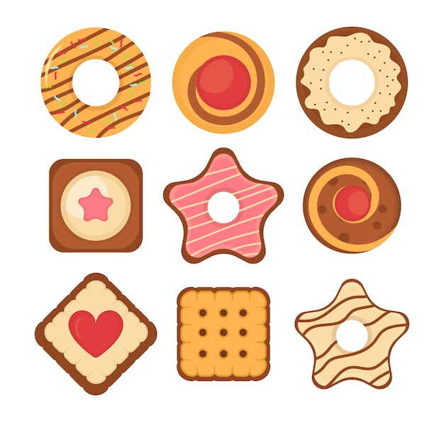 Conjunto de diferentes galletas de chispas de chocolate y galletas, pan de jengibre y galleta aislado sobre fondo blanco. conjunto de iconos de galletas de pan de galleta. gran conjunto de galletas de colores diferentes pasteles. ilustración.