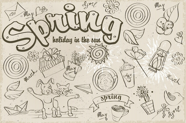 Conjunto de diferentes garabatos sobre un tema de primavera. contorno negro