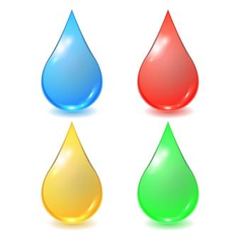 Conjunto de diferentes gotas: sangre roja, agua azul, miel o aceite amarillo y gota orgánica verde