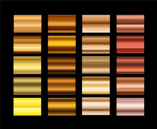 Conjunto de diferentes gradientes de metal.