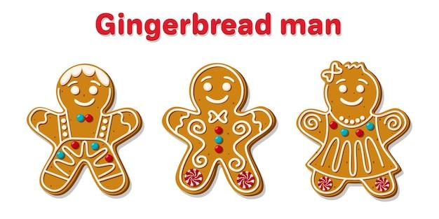 Conjunto de diferentes hombres de pan de jengibre de navidad.