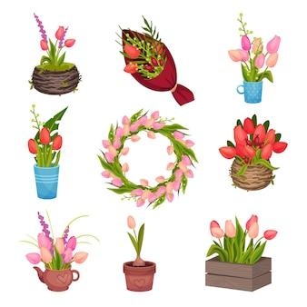 Conjunto de diferentes imágenes de tulipanes. recogido en una corona, crecer en una maceta, pararse en un florero. imagen vectorial