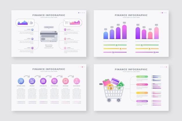 Conjunto de diferentes infografías de finanzas