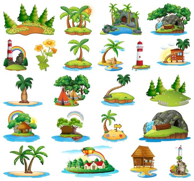Conjunto de diferentes islas