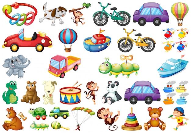 Conjunto de diferentes juguetes