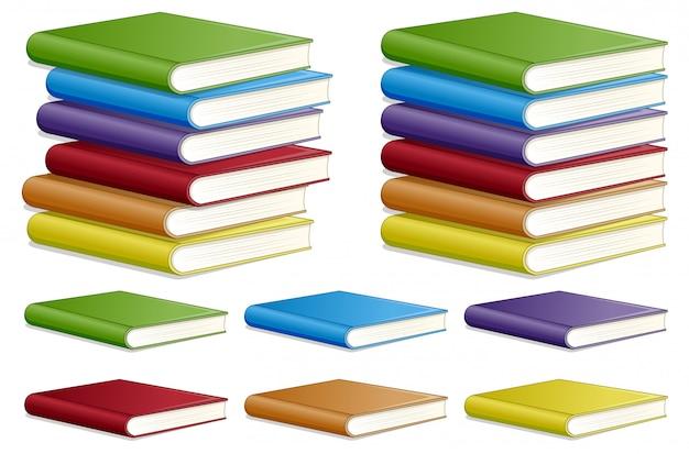 Conjunto de diferentes libros de color.