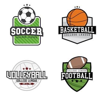 Conjunto de diferentes logotipos deportivos (fútbol, fútbol, voleibol y baloncesto)