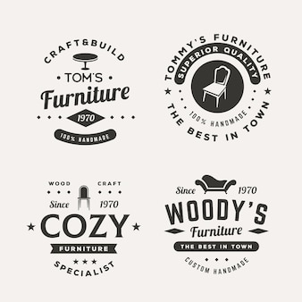 Conjunto de diferentes logotipos de muebles retro