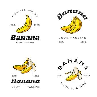Conjunto de diferentes logotipos de plátano.