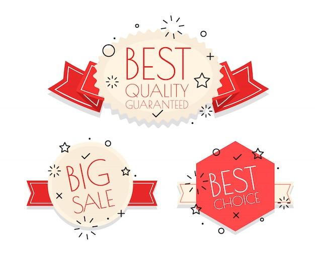 Conjunto de diferentes logotipos vintage. colección de vectores de banners de compras