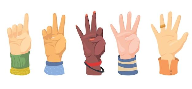 Conjunto de diferentes manos humanas contando con los dedos. ilustración de dibujos animados